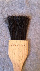 Bage/madpensel Flad 7rækker sort hestehalehår 23 cm lang olieret bøgetræ