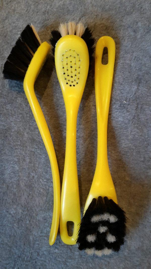 Opvaskebørste 2284 Kopbørste Gul Plastik m/ Ansigt hestehalehår 22 cm